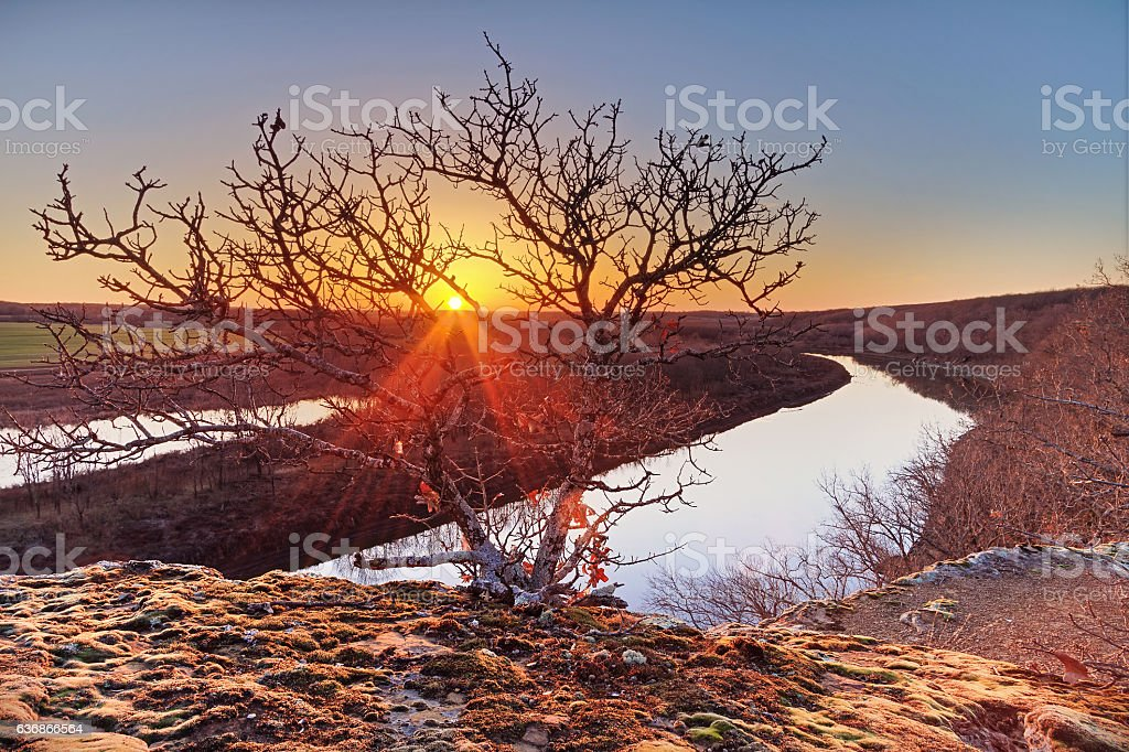 Sunset on the Osage River stock photo