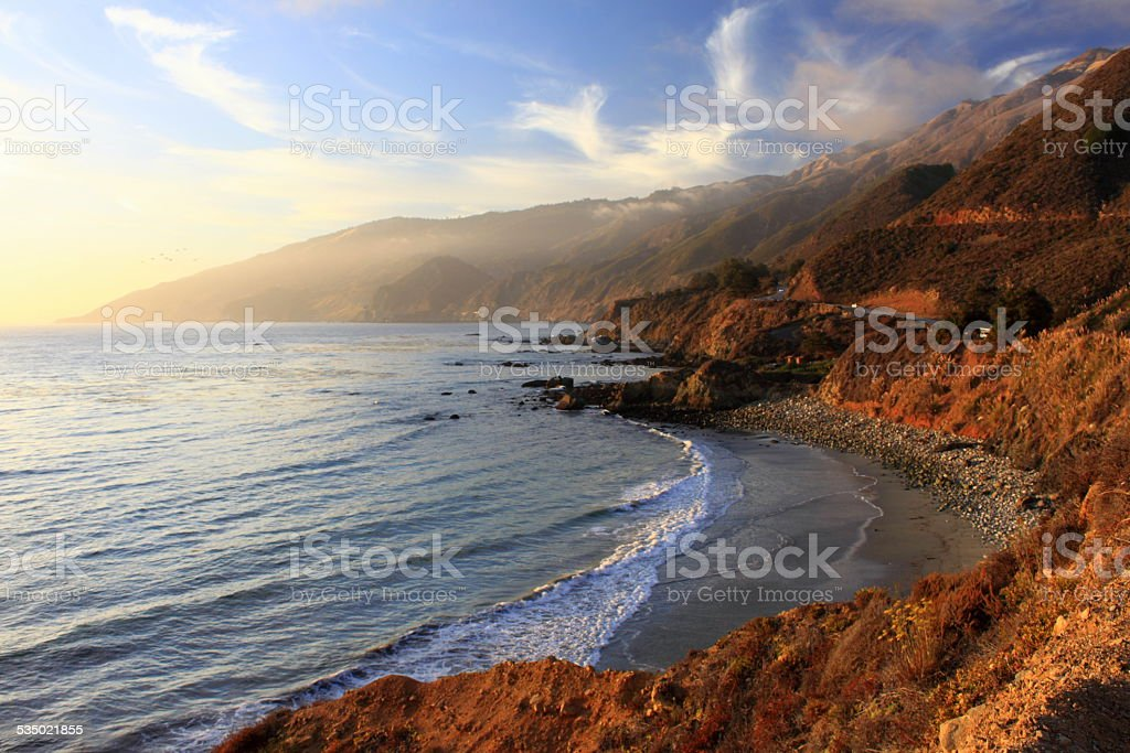 Sunset on the Pacific Coast Highway stock photo