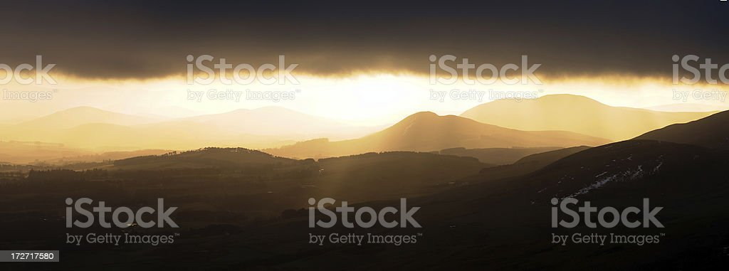 Sunset on the Pentland Hills Panorama royalty-free stock photo