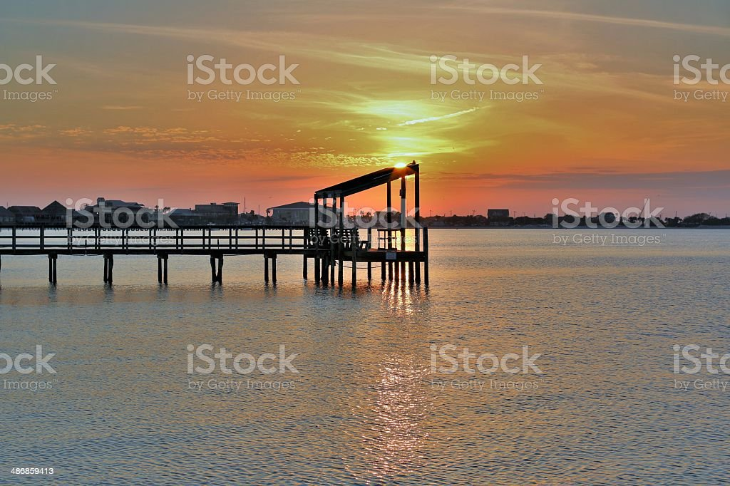 Sunset on the pier royalty-free stock photo