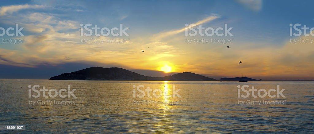 Sunset on the Princes' Islands. Turkey, Istanbul, the Marmara Sea. royalty-free stock photo