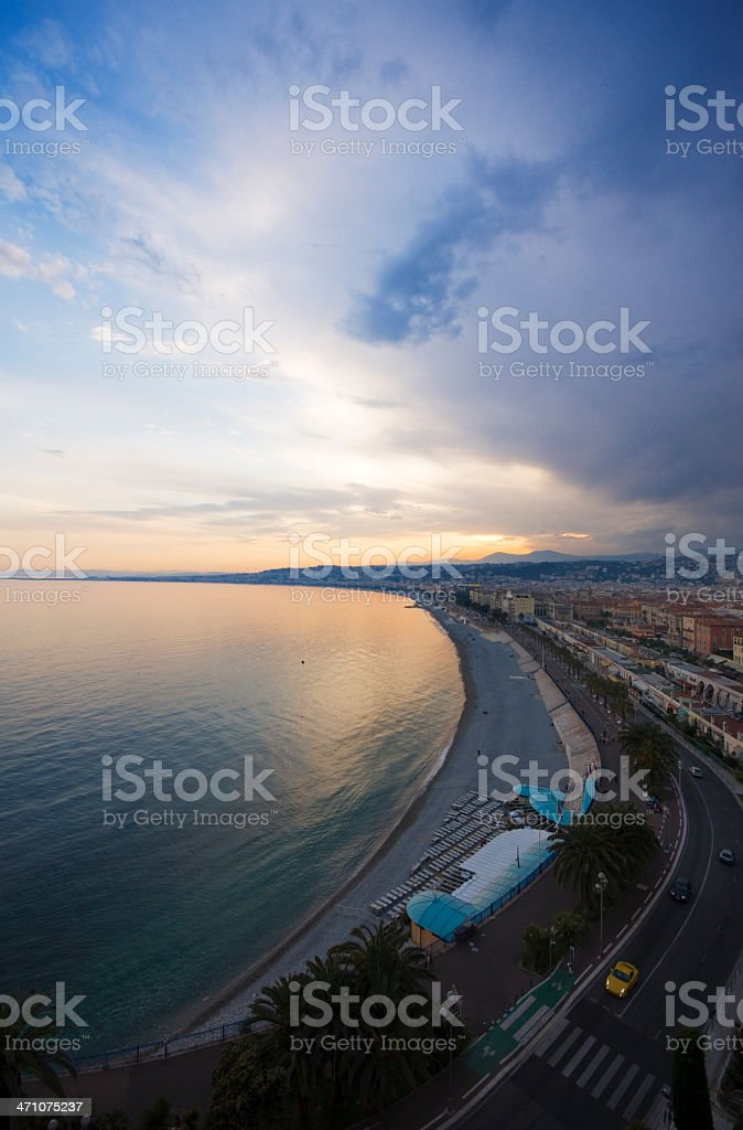 Sunset on the Promenade des Anglais royalty-free stock photo