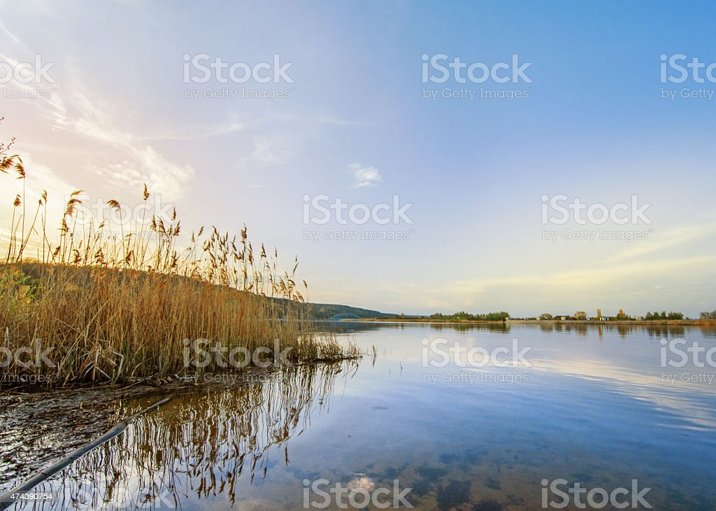 Sunset on the river bank in Russia stock photo