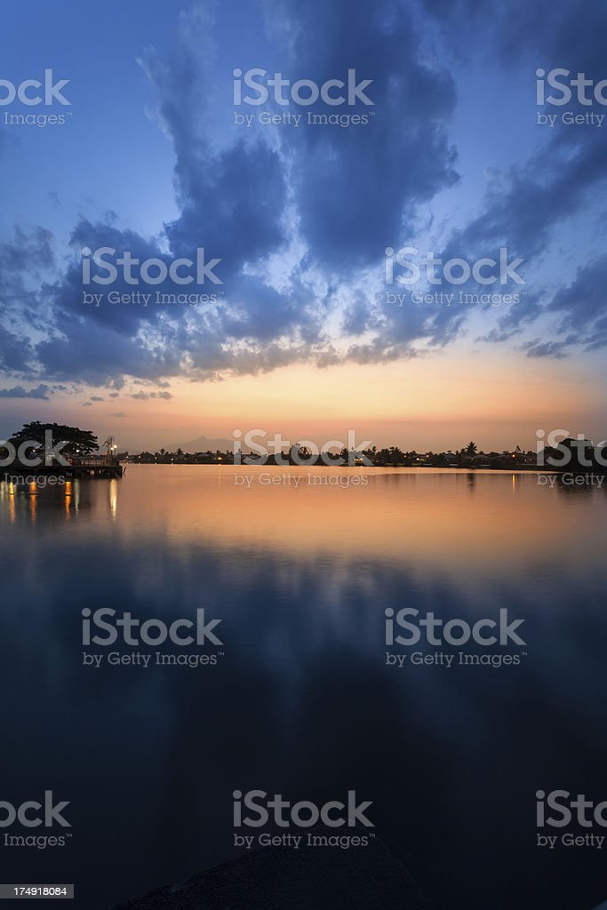 Sunset on the River, Borneo royalty-free stock photo