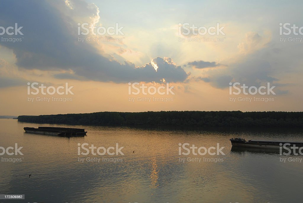 sunset on the river Danube royalty-free stock photo
