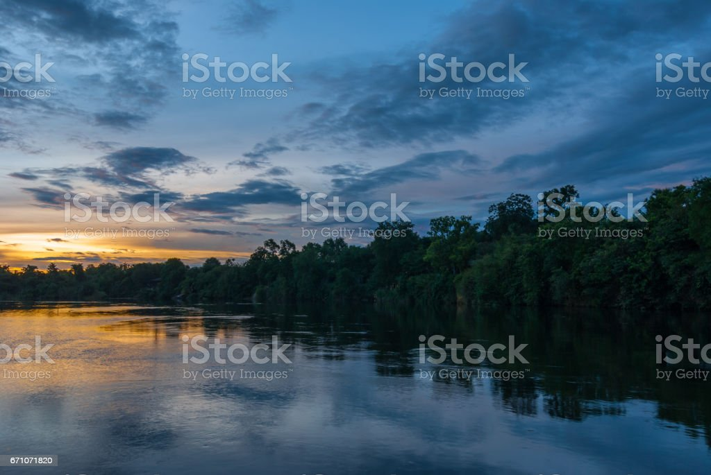 Sunset on the river Kwai stock photo