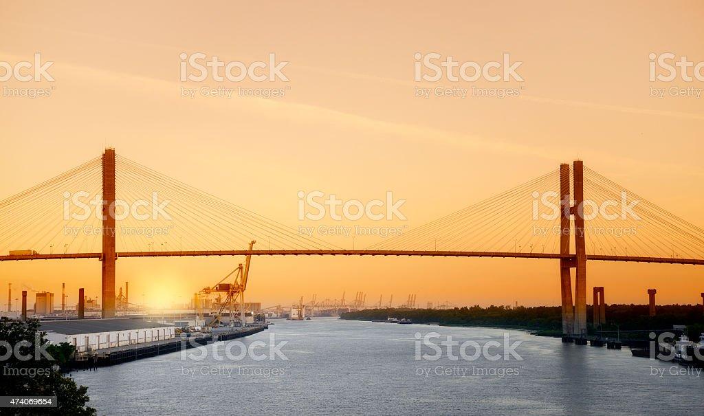 Sunset on the River,Savannah,Georgia stock photo