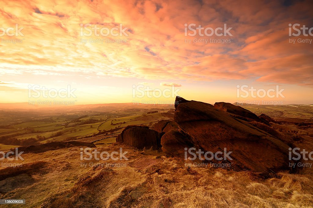 Sunset on The Roaches stock photo