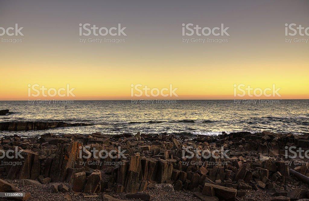 Sunset on the rocks stock photo