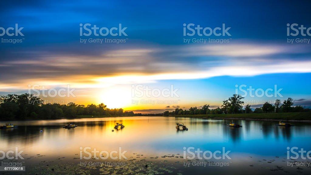 Sunset on the rowing track in Jarun lake in Zagreb - Croatia stock photo