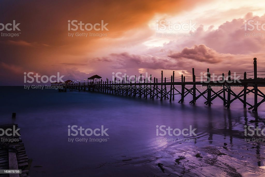 Sunset on the Sea and Jetty royalty-free stock photo