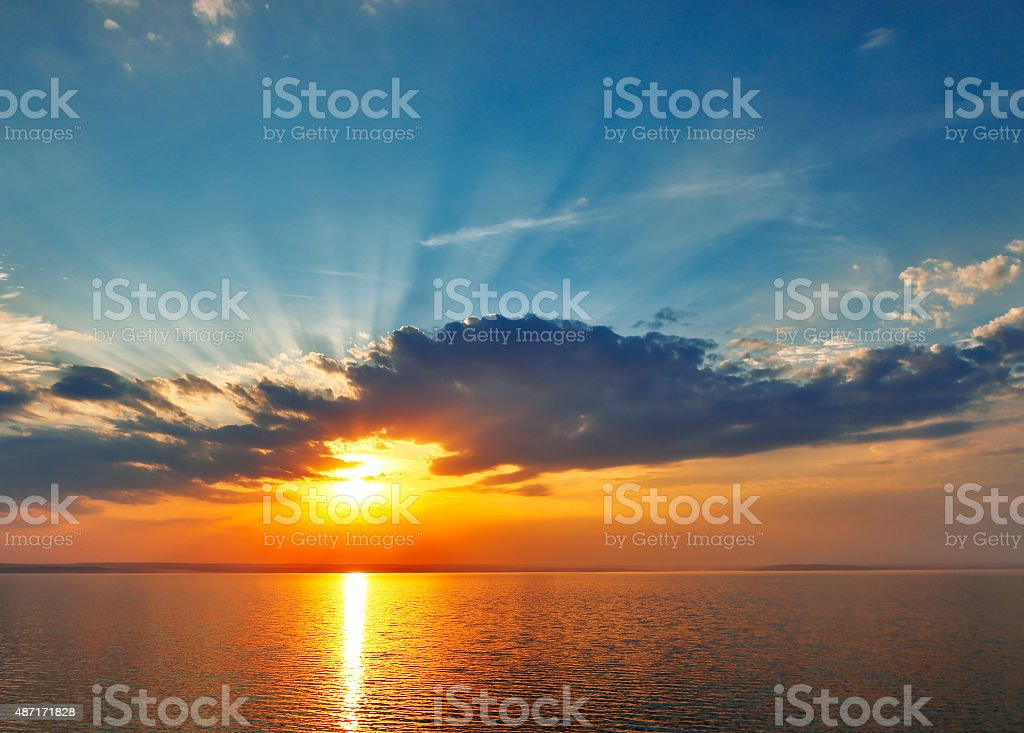 sunset on the sea. stock photo