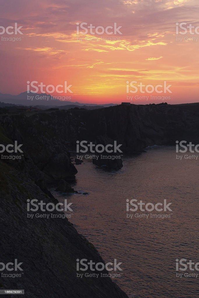 Sunset on the sea  Puesta de sol en el mar royalty-free stock photo
