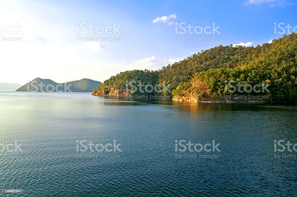 Sunset On The Small Hills Beside Big Lake. royalty-free stock photo