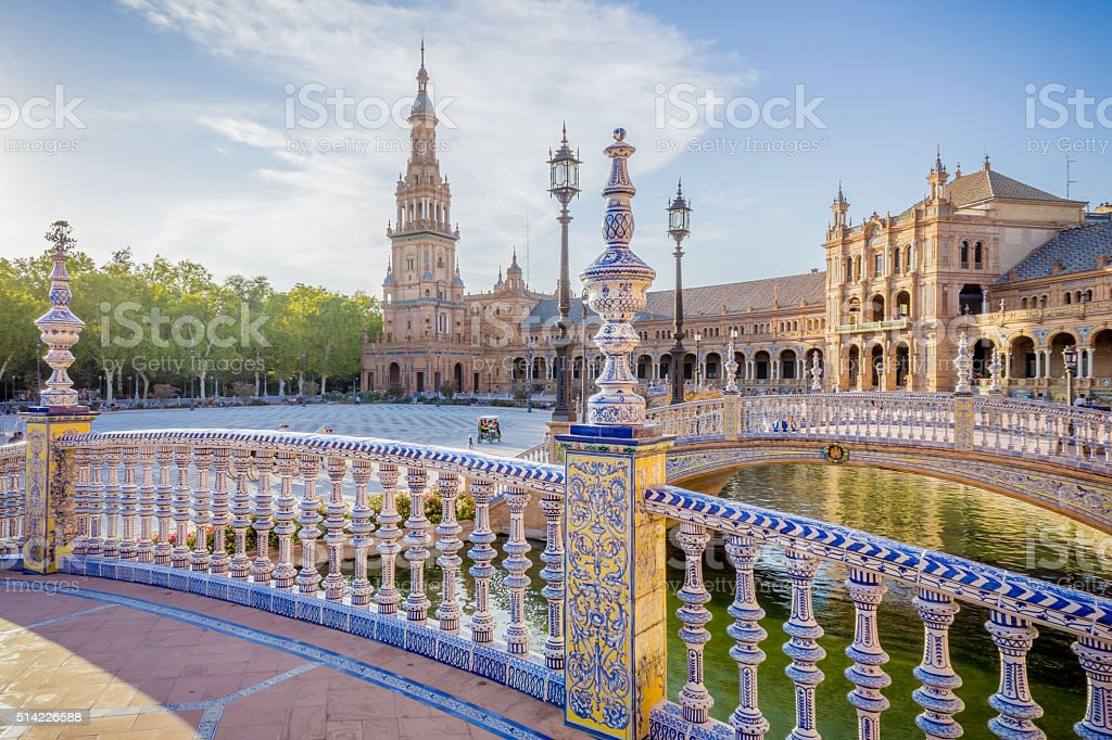 Sunset on the Square of Spain stock photo