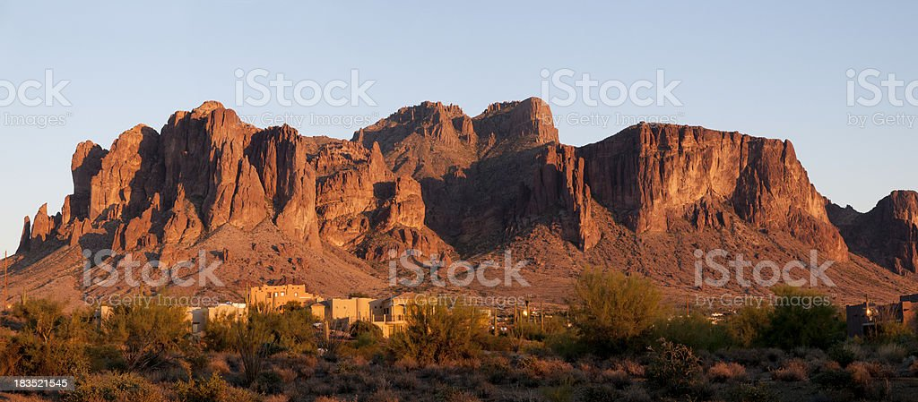 Sunset on the Superstition Mountains stock photo
