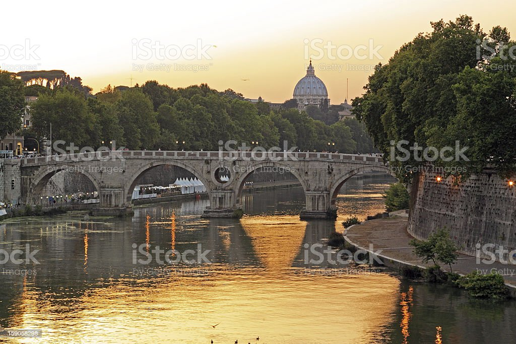 Sunset on the Tiber and Saint Peter, Rome royalty-free stock photo