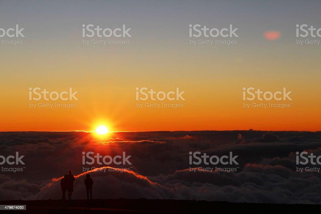 Sunset on the top of Haleakala volcano stock photo
