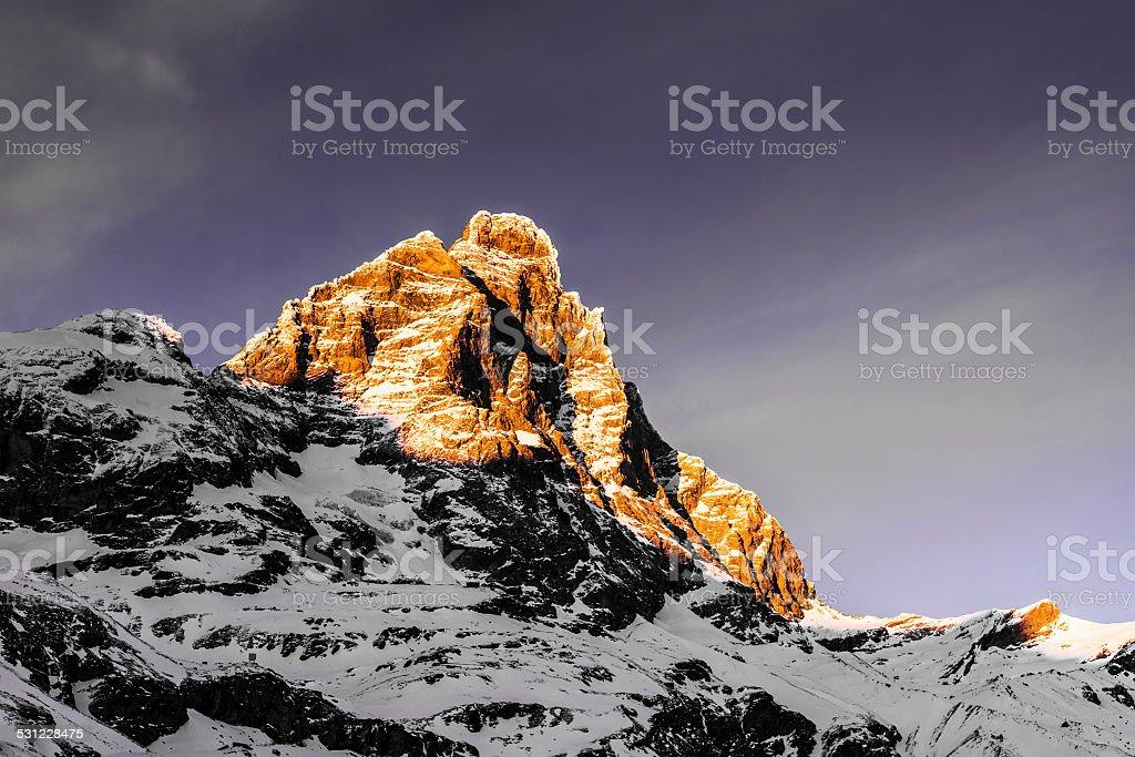 Sunset on the top of Matterhorn stock photo