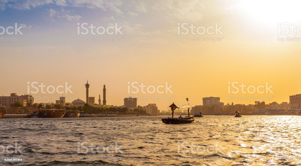 Sunset on the traditional Abra ferries in Dubai stock photo