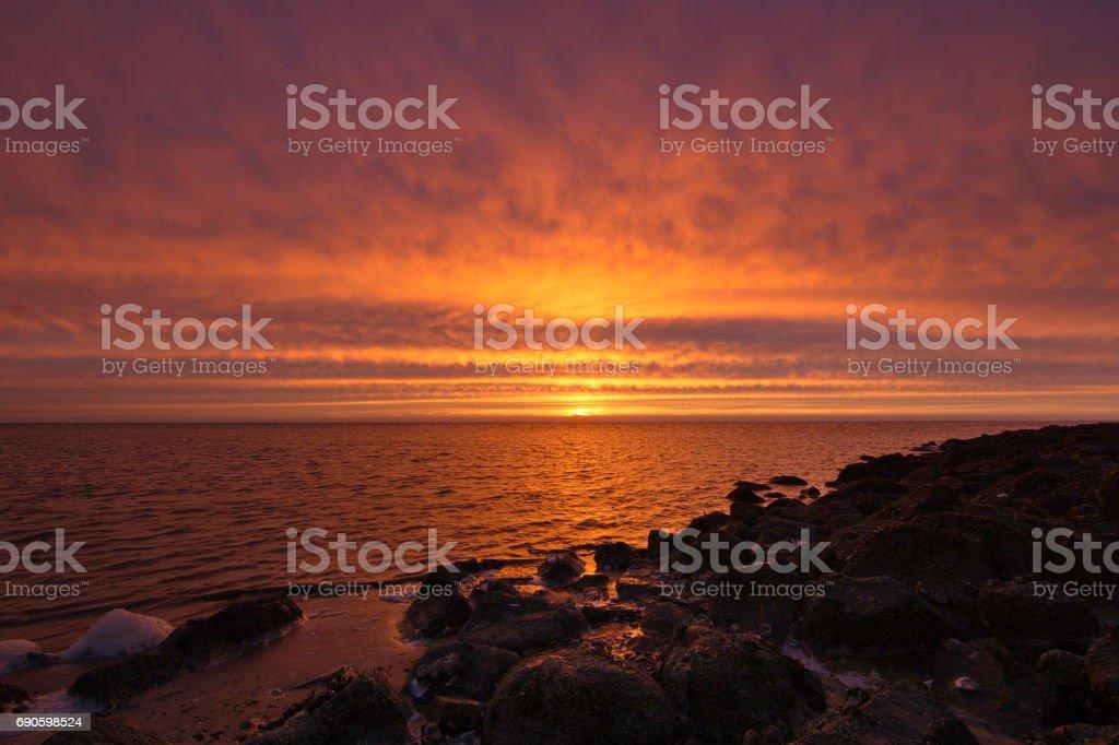 Sunset on the waddensea, Sexbierum, Netherlands stock photo
