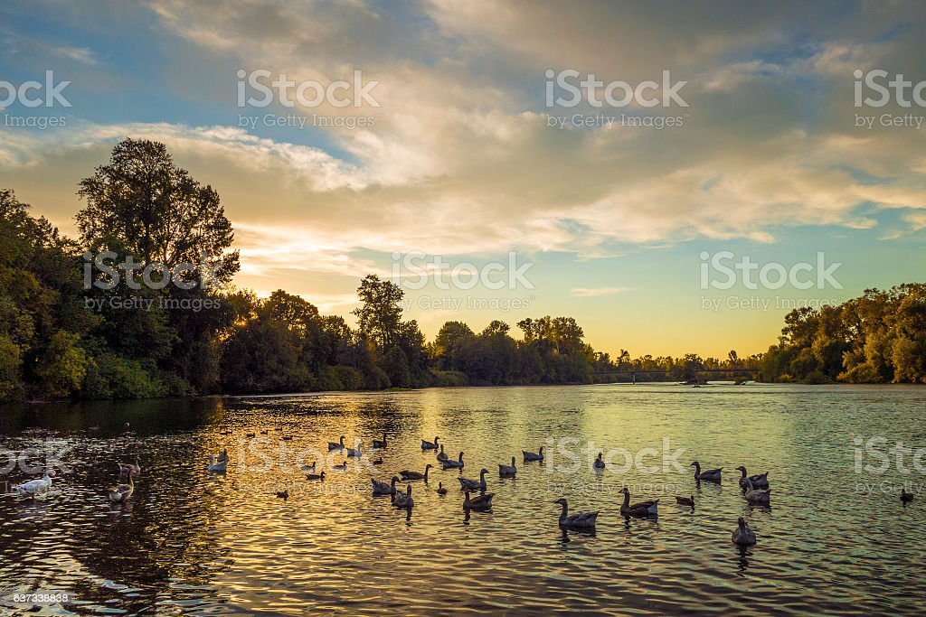 Sunset on the Willamette River stock photo
