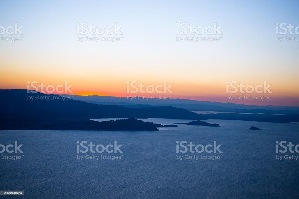 Sunset on Titicaca Lake from Amantani' Island, Peru stock photo