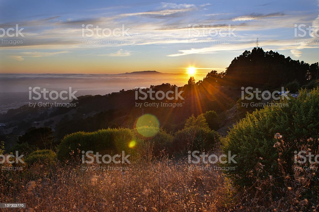 Sunset on top of berkeley hill stock photo