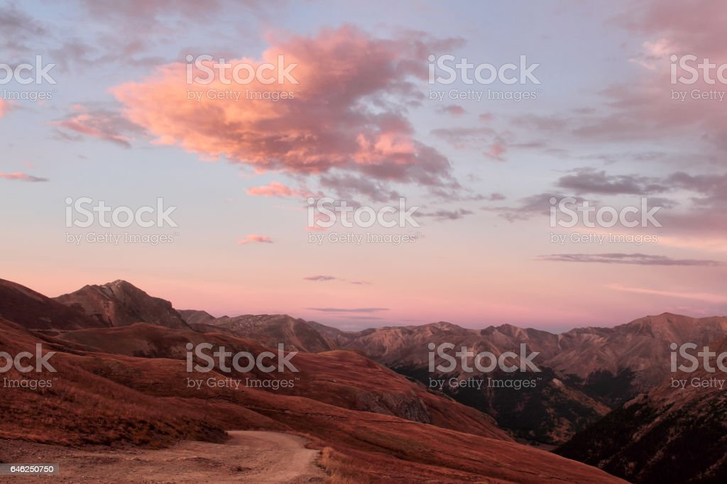 Sunset on top of the Alpine Colorado Mountains stock photo