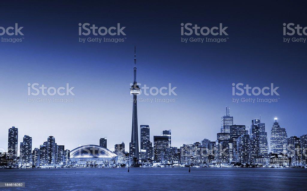Sunset on Toronto City in Blue stock photo