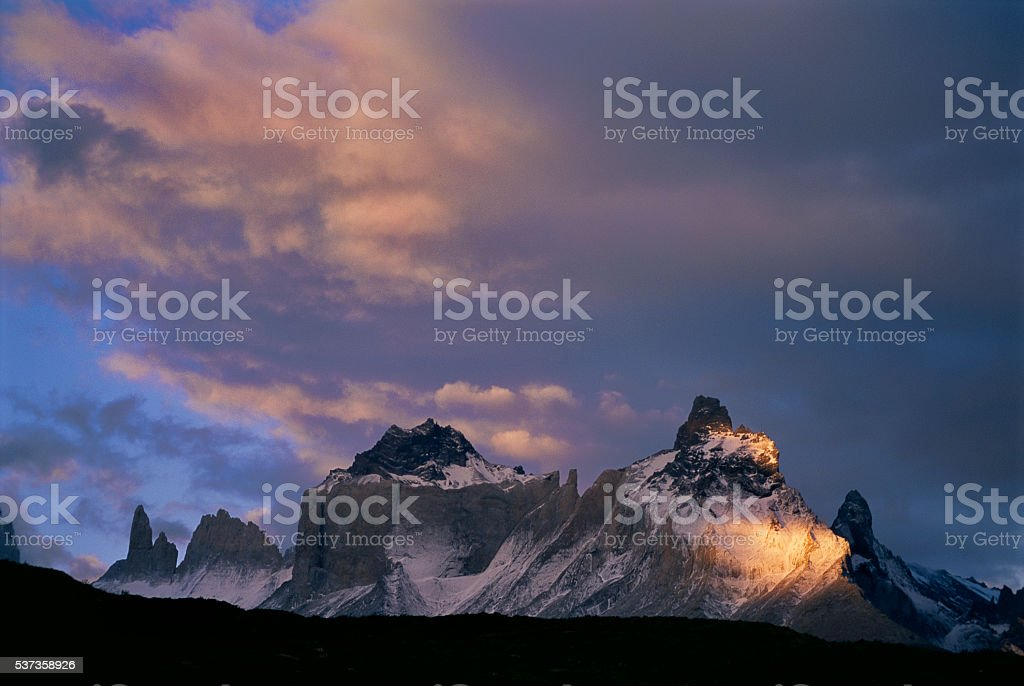 Sunset on Torres del Paine stock photo