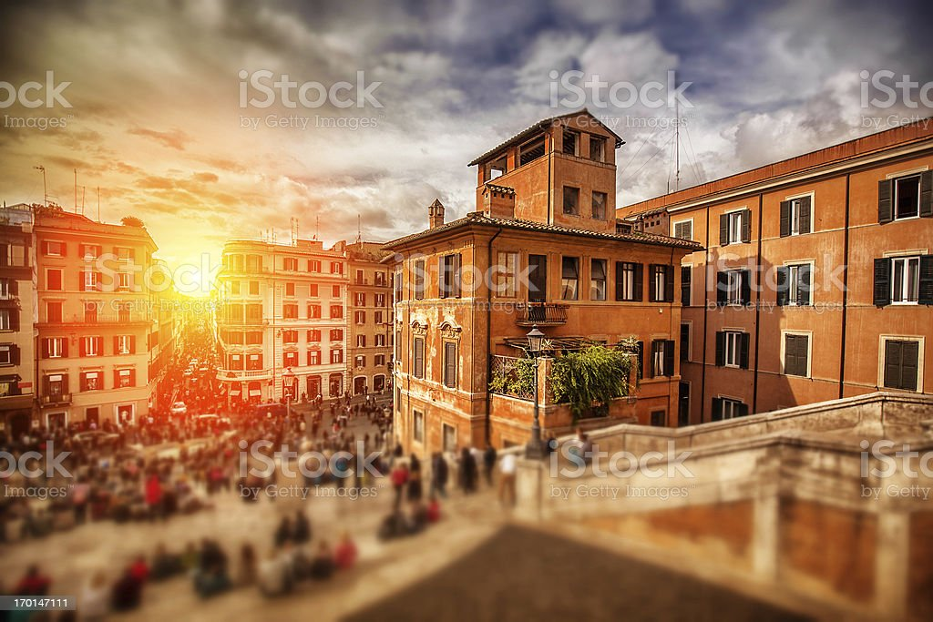 Sunset on Trinita dei Monti and the Spanish Steps stock photo
