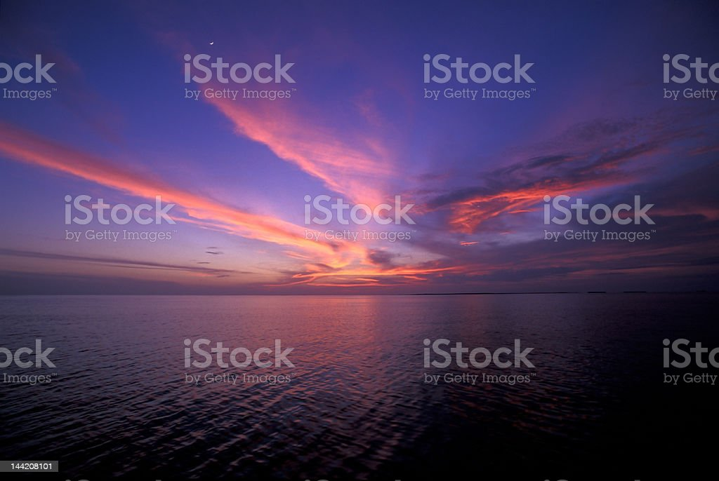 sunset on tropical lagoon royalty-free stock photo