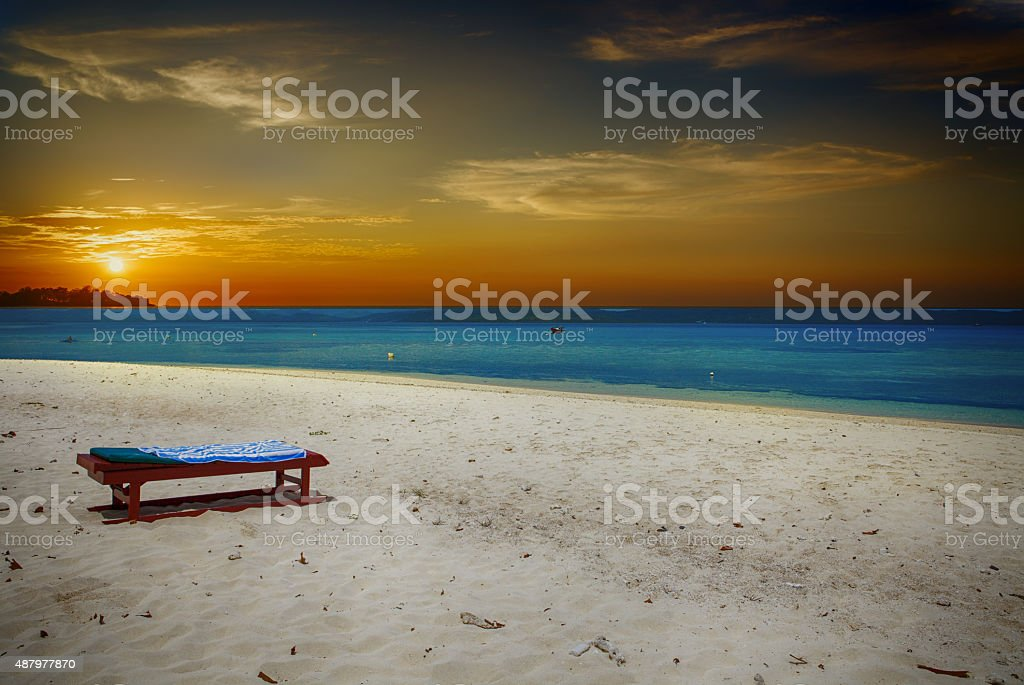 Sunset on Tropical white sand stock photo