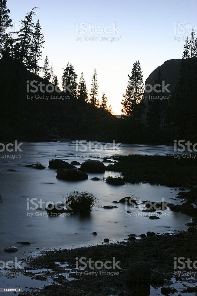 Sunset on Tuolumne River at Yosemite stock photo