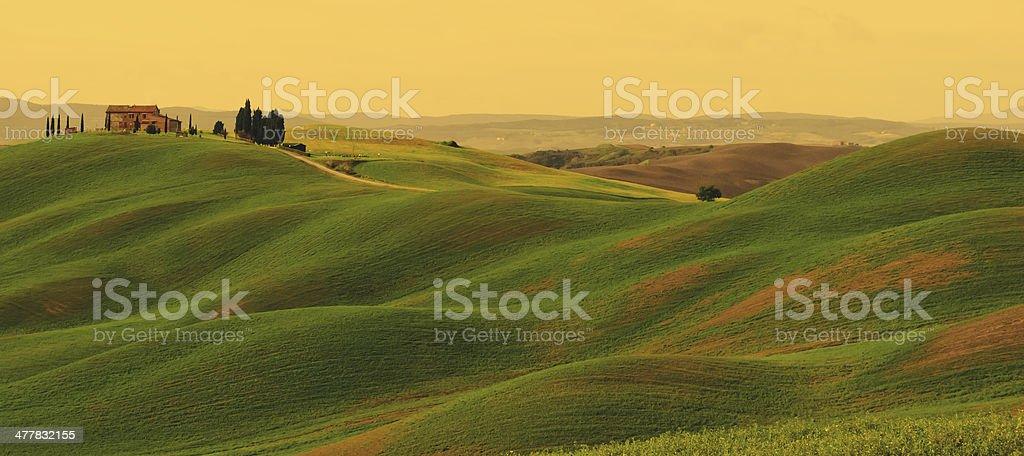 Sunset on Tuscany landscape royalty-free stock photo