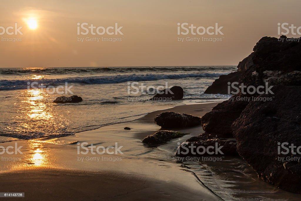 Sunset on Varkala Beach in Kerala, India stock photo