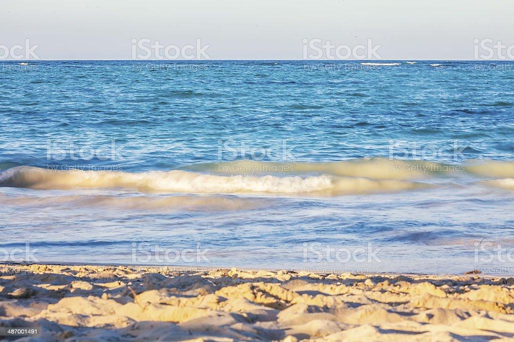 Sunset On White Caribbean Beach royalty-free stock photo
