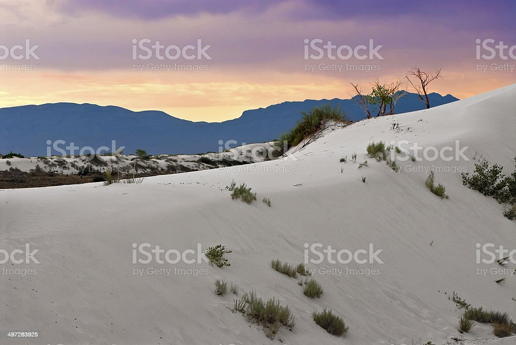Sunset on White Sands National Monument stock photo