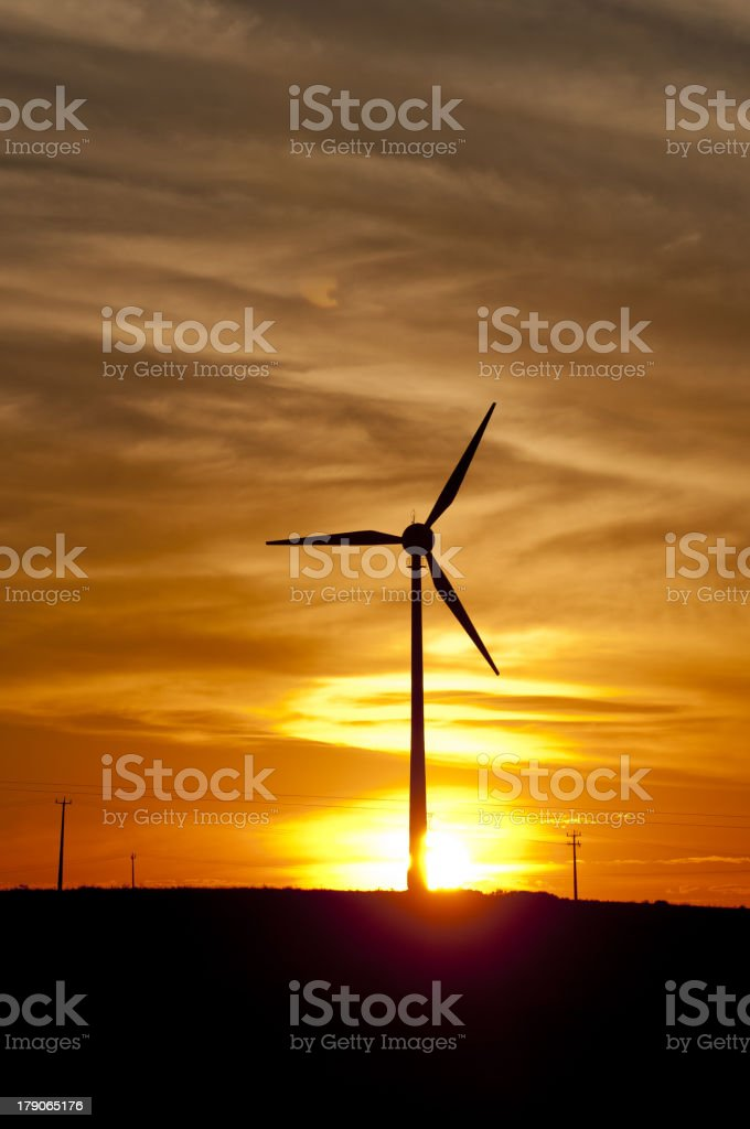 Sunset on Wind Farm royalty-free stock photo