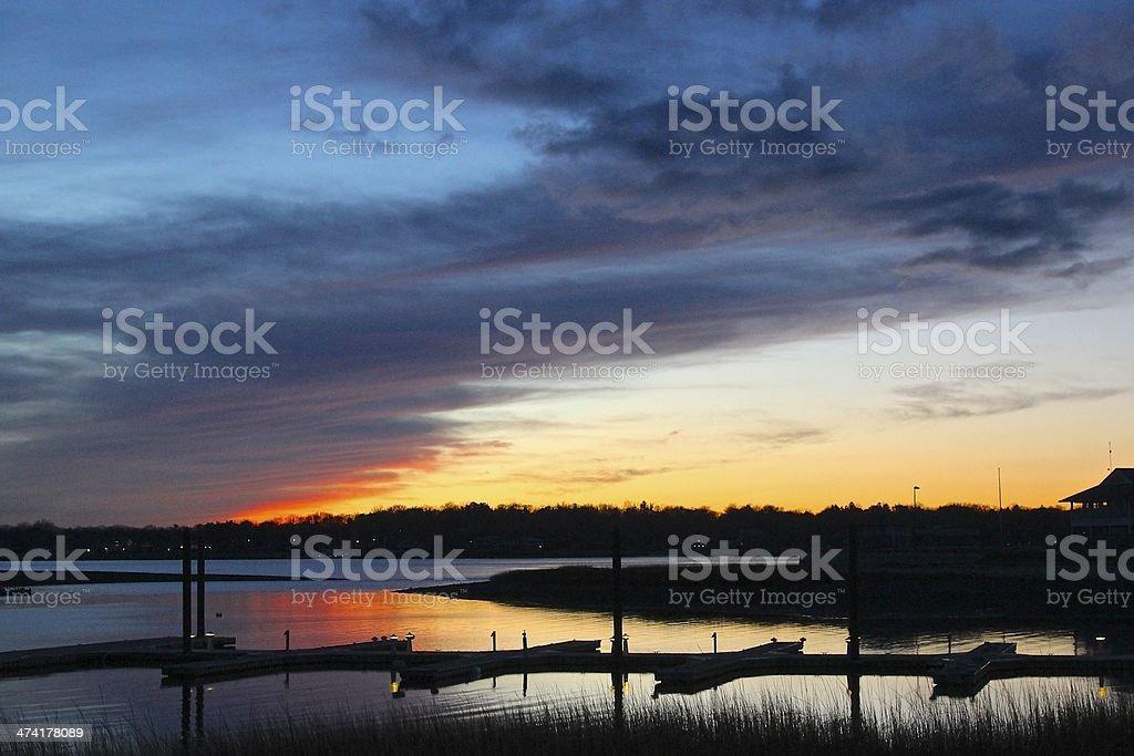 Sunset on winter marina stock photo