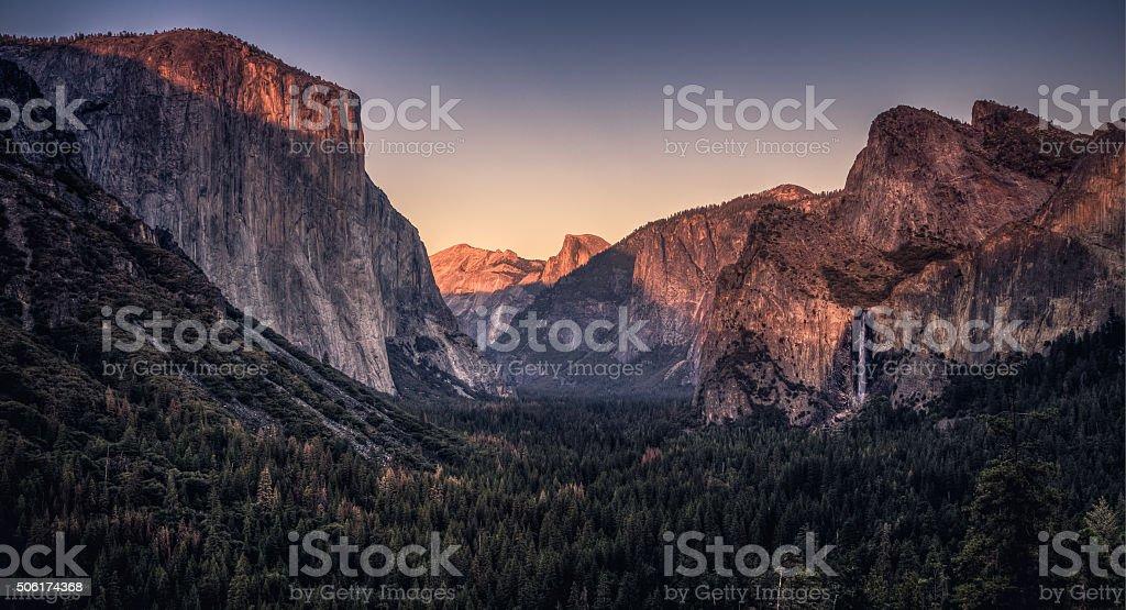 Sunset on Yosemite Valley stock photo