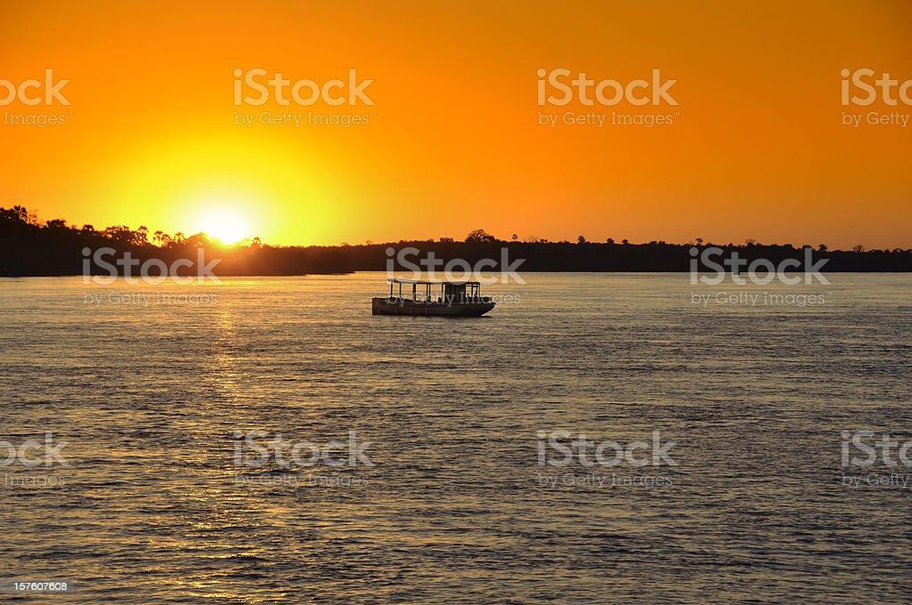 Sunset on Zambezi stock photo