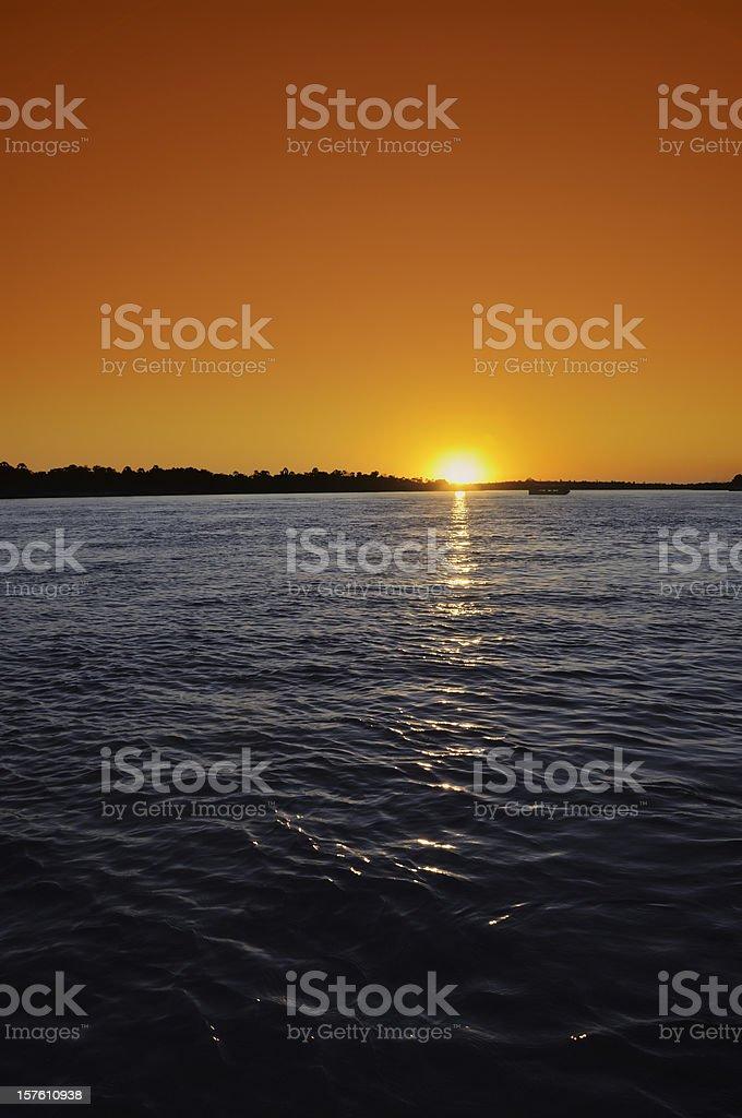 Sunset on Zambezi River stock photo