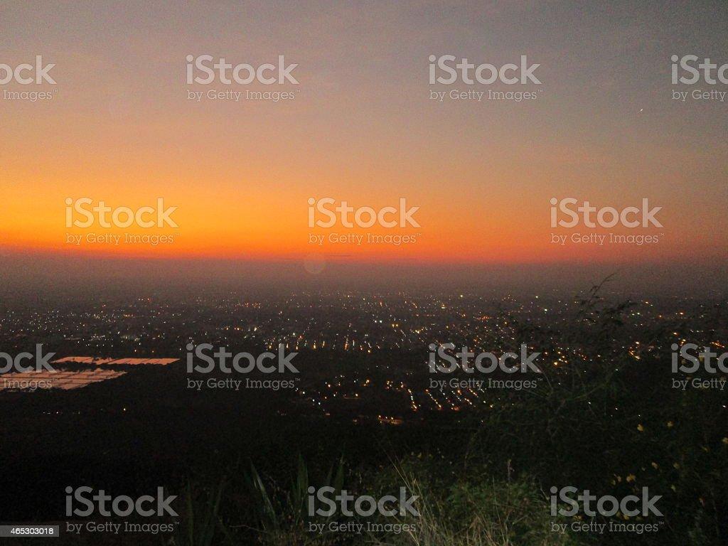 Sunset or sundown stock photo