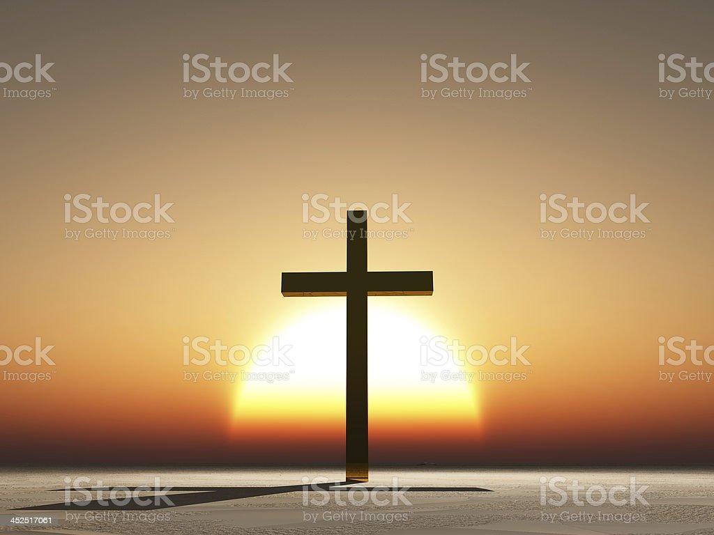 Sunset or sunrise cross stock photo