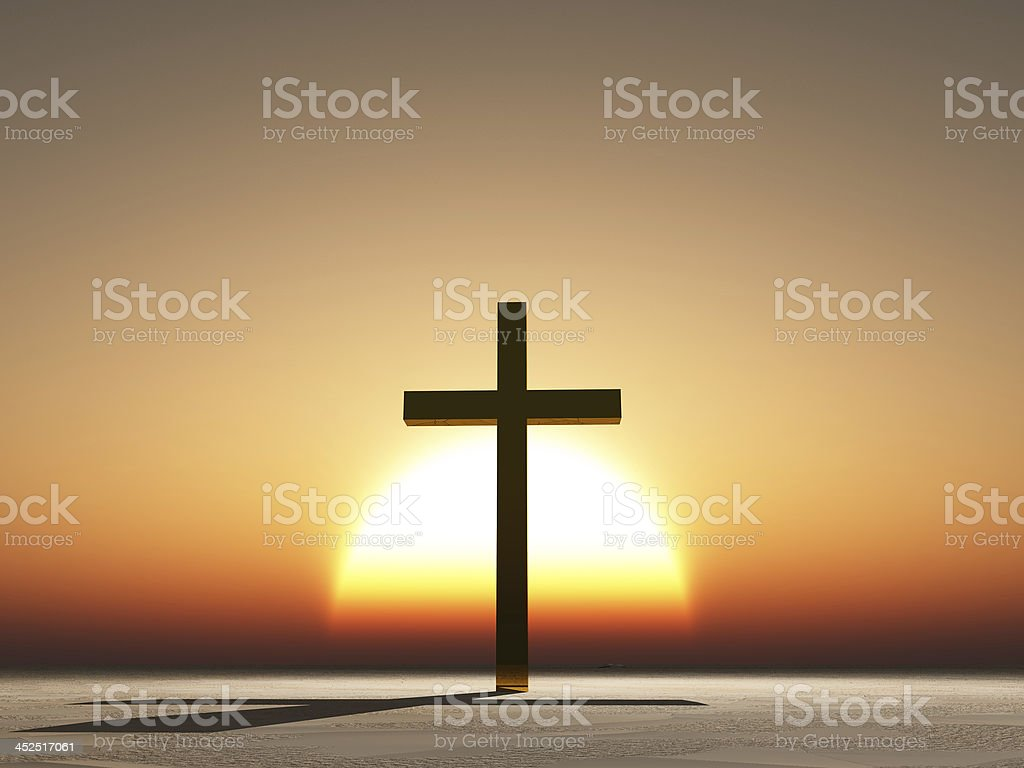 Sunset or sunrise cross stock photo
