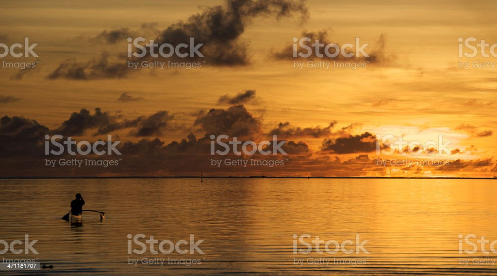 Sunset outrigger royalty-free stock photo