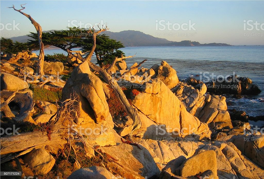 Sunset over 17 Mile Drive stock photo