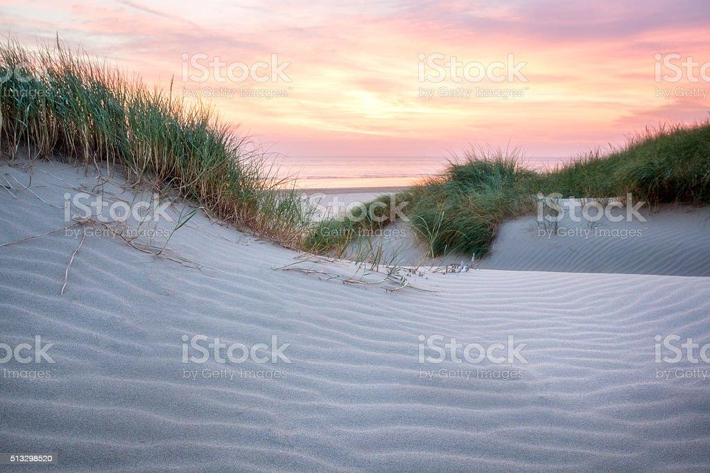 sunset over a beautiful beach stock photo